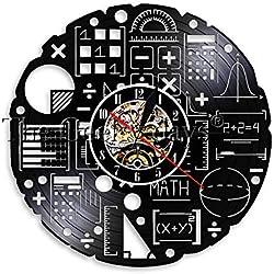 Matemáticas Fórmula Ciencia Aula Arte de Pared Reloj de Pared Friki Gráfica Ecuación matemática Disco de Vinilo Reloj de Pared Idea de Regalo para Profesores de matemáticas