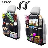Jiadi Si Auto Rückenlehnenschutz, 2 Stück Auto Rücksitz Organizer für Kinder, Große Taschen und iPad-/Tablet-Fach, Wasserdicht Autositzschoner, Kick-Matten-Schutz für Autositz
