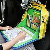 KIPTOP Kinder Auto Knietablett Nette Tierdrucke Sketchpad Multifunktions Reise Tablet Speicher Netzbeutel Esstisch Tablett für Kinder (Auto-Rücksitzbank Reißbrett & Schultasche für Kinder)