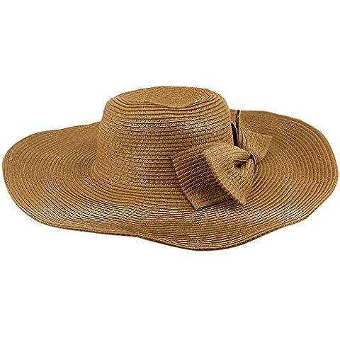 Bowknot Bohemio Sombrero De Sol De Verano Playa Ala Ancha De Paja Grande Ancho Borde Casquillo