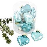 Dadeldo Living & Lifestyle Weihnachtskugel Herz Premium 10er Set Glas 5x4x2cm Xmas Baumschmuck (Aqua)