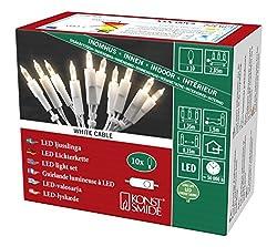 Konstsmide 6300-102 LED Minilichterkette/für Innen (IP20) VDE geprüft / 230V Innen/mit Schalter / 10 warm weiße Dioden/weißes Kabel