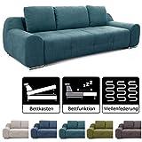 Cavadore Big Sofa Benderes / Schlafsofa mit Bettfunktion und Bettkasten/ Moderne Couch mit Steppung und Ziernaht / Inkl. 3 Kissen / Chromfüße / 266 x 70 x 102 (BxHxT) /  Türkis