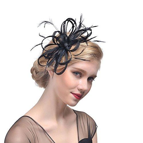 Likecrazy Damen Fascinator Hüte mit Feder Mädchen und Frauen 20er 50er Jahre Hochzeit Kopfschmuck Haarschmuck Cocktail Tea Party Kirche Accessoire Netz Mütze (Haarspange Kommunion Schleier)