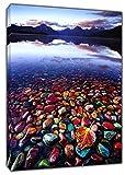 Farbigen Steine im Meer Bild Kunstdruck auf gerahmter Leinwand Wand Art Home Office Dekoration, 24'' x 16 inch(60x 40 cm) -38mm depth