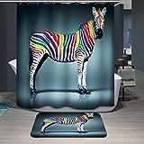 Beddingleer Duschvorhang anti-schimmel 180x180 cm Wasserdicht und Mildewproof 3D Digital Gedruckt Tier Badvorhang Badezimmer mit 12 Vorhangringe