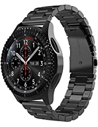 [Versión actualizada]Samsung Gear S3 Reloj Correa, Simpeak Acero inoxidable Banda de reemplazo Tres Hebilla de cuentas Diseño Correa para Samsung Gear S3 Classic / Frontier - Negro
