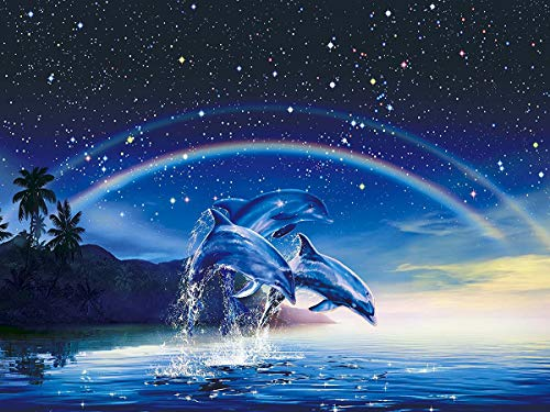 Twuky 5D DIY Diamond Set Full Diamond Diamond Painting Living Room Wall Sticker, Delphin(13X16inch/33X40cm)