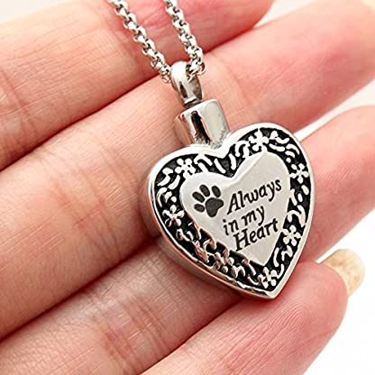 Zahara Pet Memorial Urn Necklace (20 Inches) with Velvet Pouch & Funnel | Always in My Heart Paw Pendant + Chain 4