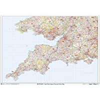"South West England Postcode District Wall Map (D1) - 47"" x 33.25"" Laminated"