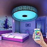 LED kreisförmige Form Nest Bird's Musik Decke Glühbirne Licht Decke Lampe mit Bluetooth laut Lautsprecher für Musik, Smartphone-App bunte Lampe,Weiß + warm weiß + buntes RGB,