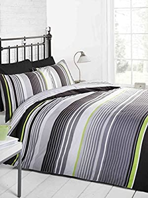 Signature Striped Quilt Duvet Cover and Pillowcase Bedding Bed Set, Grey/Black/Green/White, Single produced by Rapport - quick delivery from UK.