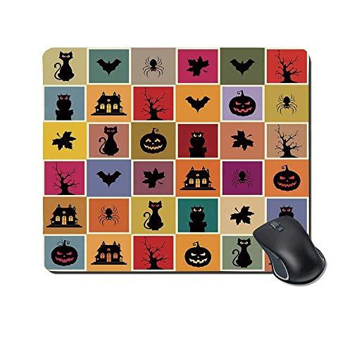 Vintage Halloween Durable Mouse Pad, Fledermäuse Katzen Eulen Spukhäuser Squraes Halloween unter dem Motto Darwing Kunst dekorativ für Office Home,Gummimatte 11,8
