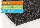 Nadelfilz Nadelvlies MERLIN - Anthrazit - 2,00m x 1,00m | Premium Objekt-Qualität | 9 Farben | B1-Zertifikat | GUT-Siegel | 2,00m Breit | 1.090 g/m² | Teppichboden | Bodenbelag | Büro | strapazierfähige Auslegware