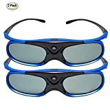 topowson,DLP Link 3D-Brille Wiederaufladbare für DLP-Projektoren Optoma, BenQ, Acer, Viewsonic, Dell, Schwarz/Blau (2018 Comfortable Version Doppelpack)