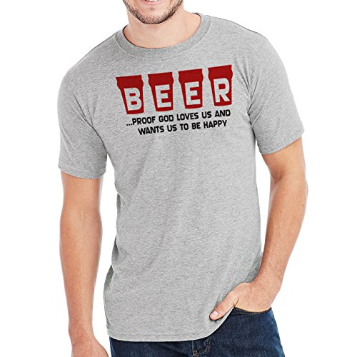 Beer Proof God Loves Us And Wants Us To Be Happy Herren T-Shirt Grau