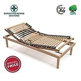 Memoryline Gold Line - Rete con doghe singola (80x190), alzata reclinabile manualmente, telaio e doghe in legno naturale di faggio, Dispositivo medico per sgravi fiscali
