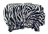 Hydrea London Eco-Friendly PEVA Shower Cap SC01Z Zebra Print Design
