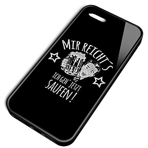Smartcover Case Mir reichts ich geh saufen z.B. für Iphone 5 / 5S, Iphone 6 / 6S, Samsung S6 und S6 EDGE mit griffigem Gummirand und coolem Print, Smartphone Hülle:Iphone 6 / 6S schwarz Iphone 5 / 5S schwarz