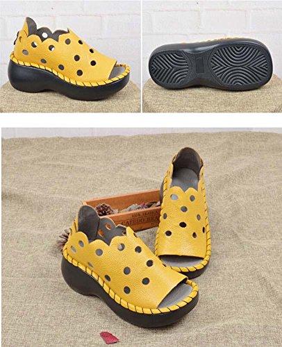 Onfly Lässige Schuhe Loafer Sandalen Damen Atmungsaktiv Gemütlich Leder Hohl Peep Toe Dicke plattform Kreuz Lazy Schuhe Pedal Schuhe Strandschuhe Eu Größe 35-40 Yellow