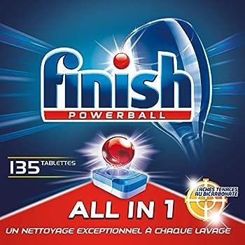 Finish Powerball Tout en 1 Max Taches Tenaces Pastilles Lave-Vaisselle - 135 Pastilles