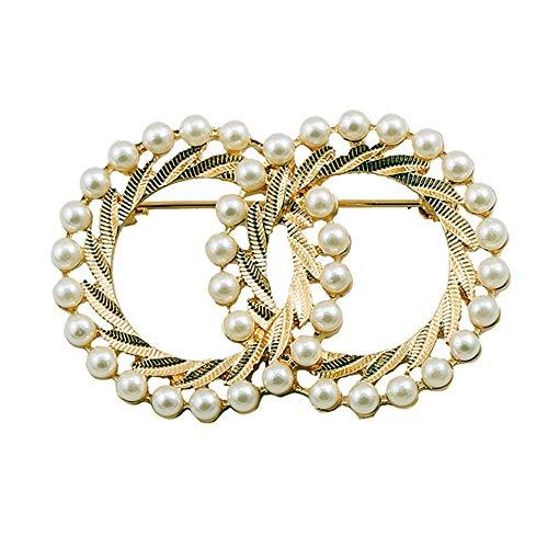 ZQword Mode Textur Brosche Emaille Zwillinge Gold Imitation Perle Corsage Wild für Frau Schmuck