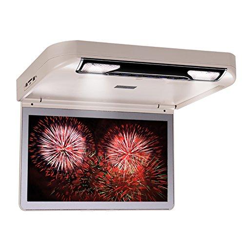 DDAUTO DD1336W Overhead Lecteur de DVD HD 1080P Flip Down Lecteur Multimédia pour Voiture avec Télécommande Gamepad Double Dôme Lumières LED Supporte USB SD HDMI Jeux 13,3 Pouces Beige