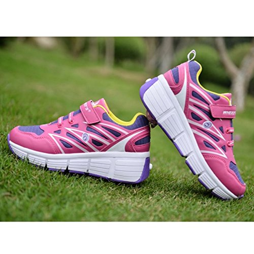 KE Unisexe respirant furtif touche PUSH automatique Poulie Chaussures Patins Chaussures de sport pink