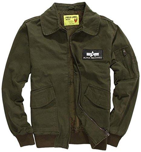 YYZYY Homme Printemps Automne Hiver Classique Cotton Militaire Air Force Flight Bomber Terrain Veste Blousons Manteaux 313/ArmyGreen