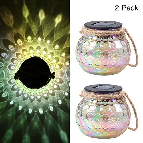 Solar Laterne Glas,Solarleuchte Glas Tomshine Solar Tischleuchte als Deko IP65 Wasserdicht für Garten,Hof【2 Stück】