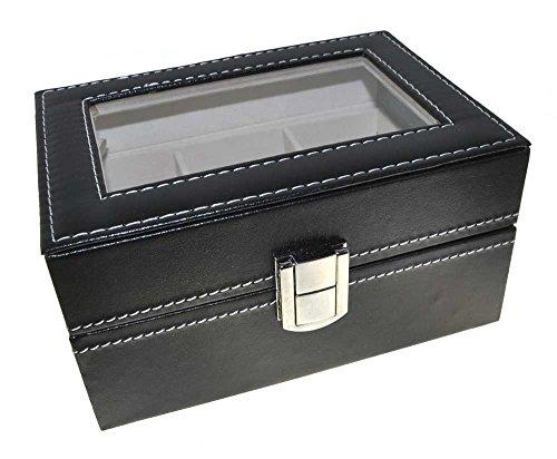 Uhrenbox Leder für 3 Uhren Sammelbox Reisebox schwarz ...