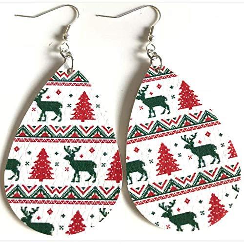 WGY Orecchini in Pelle Modello Pu Double Side Natale per Halloween Orecchini Pendenti Waterdrop Ovale Ciondola Dichiarazione