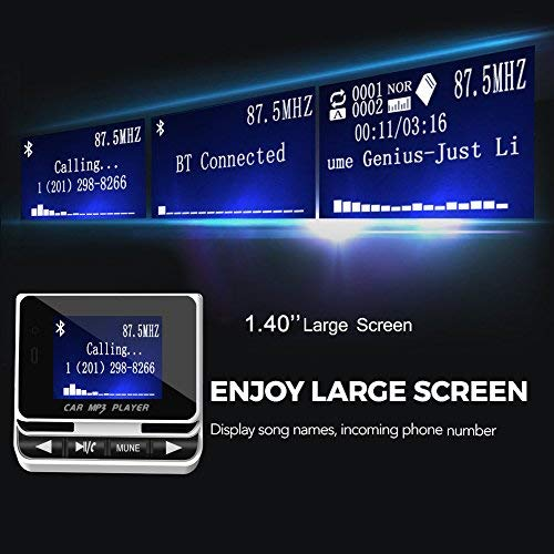 Nulaxy Wireless Bluetooth FM Transmitter Radio Adattatore Auto Vivavoce Car Kit con 1,44 Display Bluetooth FM Trasmettitore con On//Off pulsante