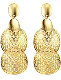 NEVI Stylish Jewellery Champagne Gold Plated Party Wear Dangler Earrings For Women Girls (Gold)