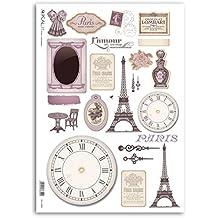 Accademia del Decoupage 32 x 45 cm Paris Mon Amour Tour Eiffel de papel de arroz para, Multi-color