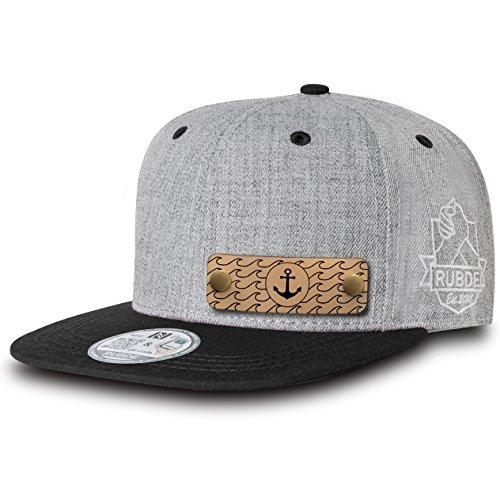 RUBDE Cap2 | Individuelle Snapback Cap Basecap Kappe mit Lederpatch, NFC-Sticker und QR-Code - verschiedene Farben / Größen - personalisierbar | Street-Style Smart-Fashion - Unisex - Herren Damen Kinder Kids | Carbon Schwarz L