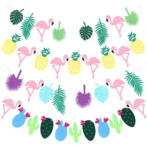 -Banner, Flamingo, Ananas, Kaktus, Girlande zum Aufhängen, 4 Stück ()