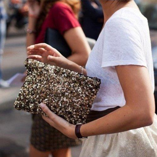 eowder mariage soirée Luxe Paillette Brillant Sac d'embrayage sac à main sac à main doré