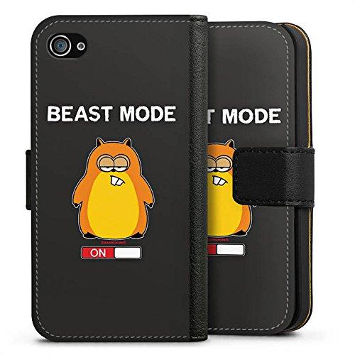 Apple iPhone X Silikon Hülle Case Schutzhülle Hamster Lustig Beast Mode Sideflip Tasche schwarz