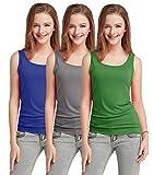 Fashion Line Cotton Lycra Tank Top for Girls / Women (Dark Blue, Grey & Green, Pack of 3)