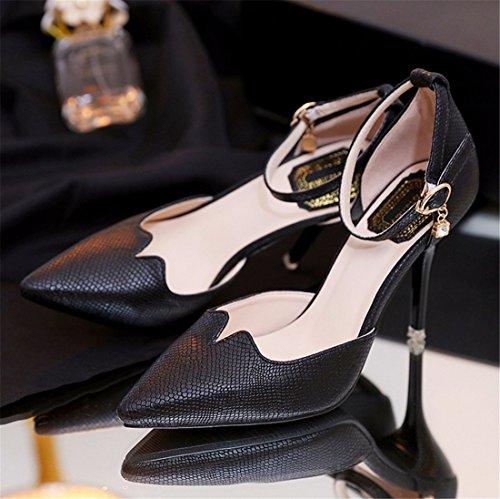 QIYUN.Z Ol Femmes Stiletto Sexy Talon Bout Pointu Ceinture Creuse Pompe Boucle Chaussure Noir