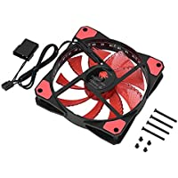 Semme Ventilador para computadora, disipador de Calor rápido 3 Pines Ventilador para computadora Tranquilo 50CFM Respirable 33LED Caja para computadora Ventilador<BR/>(Red)