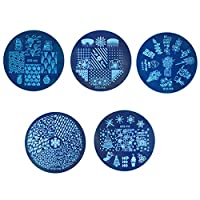Uzinb 5pcs/set Geometry Flower Round Nail Stamping Plates Christmas Festival Celebration Manicure Stencils Nail Image Template