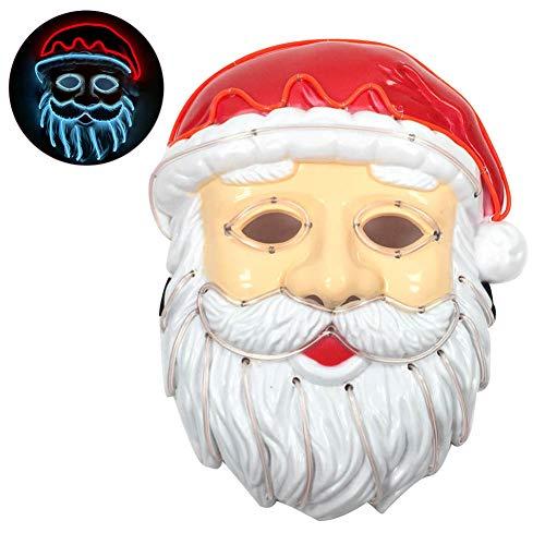 Auplew Weihnachtsmann EL Draht, Maske LED Licht Kostüm Maske für Leuchtende Tanz Karneval Party Masken Weihnachten Dekoration (El Draht Tanz Kostüm)