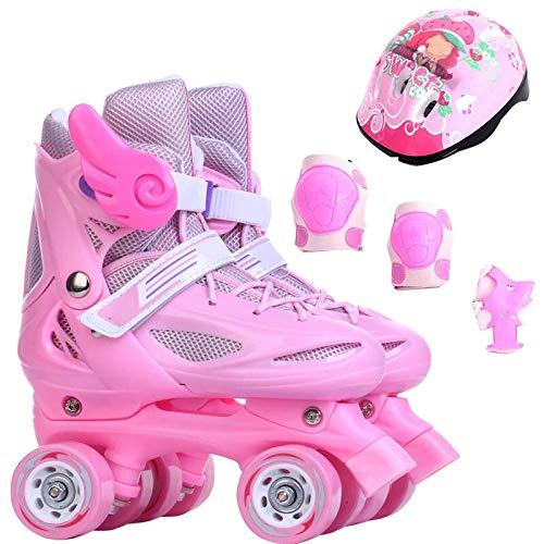 ZCRFY Rollschuhe Zweireihig Kinder Verstellbar Inline Skates Anfänger Jungen Mädchen Quad Rollerblades Für 2-11 Jahre Alte Baby Schlittschuhe Geburtstag,Pink-S(27-31)-Set2