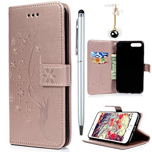 Badalink Hülle für iPhone 7 Plus / iPhone 8 Plus Lila Handyhülle Leder PU Case Cover Magnet Flip Case Schutzhülle Kartensteckplätzen und Ständer Handytasche mit Eingabestifte und Staubschutz Stecker Rosa Gold
