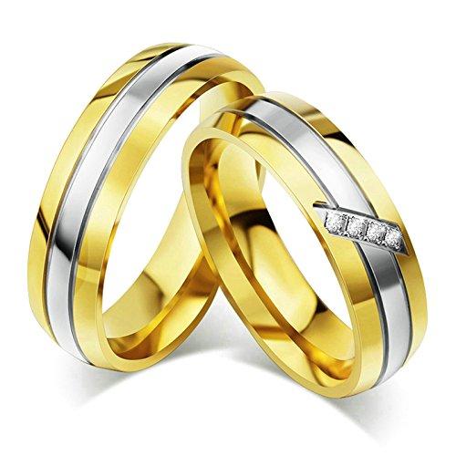Amody 1 Paar Edelstahl Verlobungs Ehering für Frauen Mann Paare Gold Eingelegter Zirkonia für Sie und Ihn Ringe Frauen 60 (19.1) & Männer 54 (17.2)