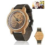 Personalisierte hölzerne Uhren Foto Armbanduhr mit Gravur für Männer Frauen