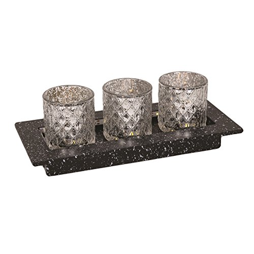 LED funciona con pilas velas de té decoración del hogar ornamento regalo Set Plata
