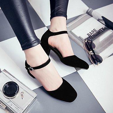 LvYuan Da donna Sandali Felpato Primavera Autunno Footing Fibbia Quadrato Nero Grigio Tessuto almond 5 - 7 cm Black